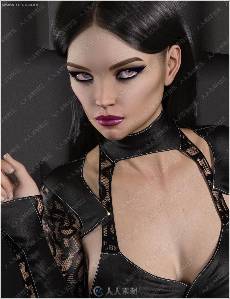 高颧骨美丽女孩多组妆容3D模型
