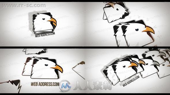 简洁创意标志层叠落下logo动画演绎AE模板