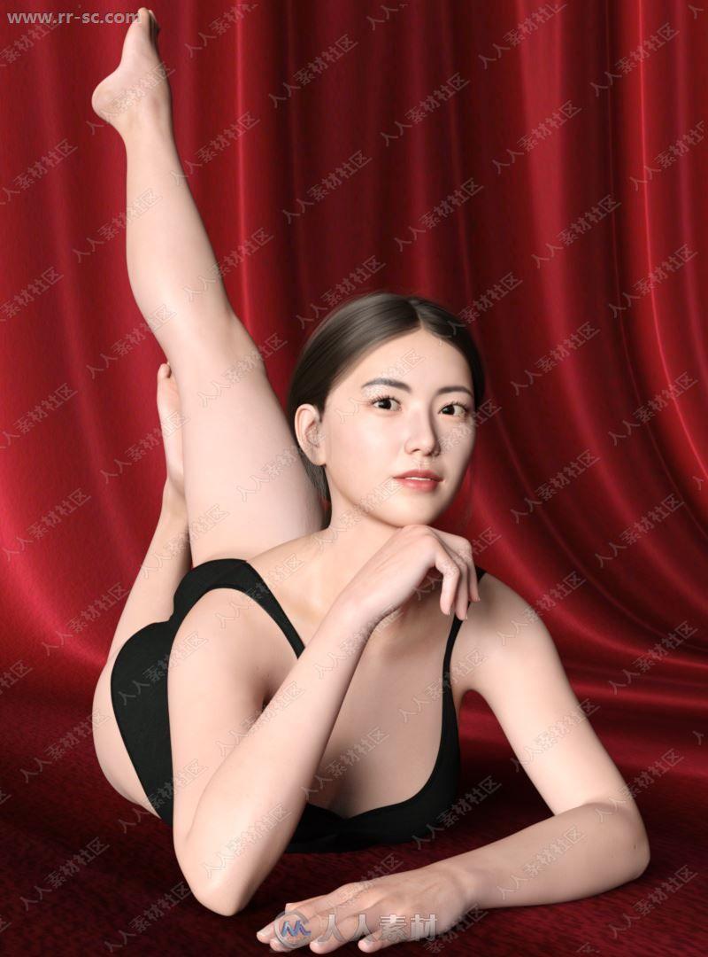古典漂亮亚洲女孩多组造型3D模型