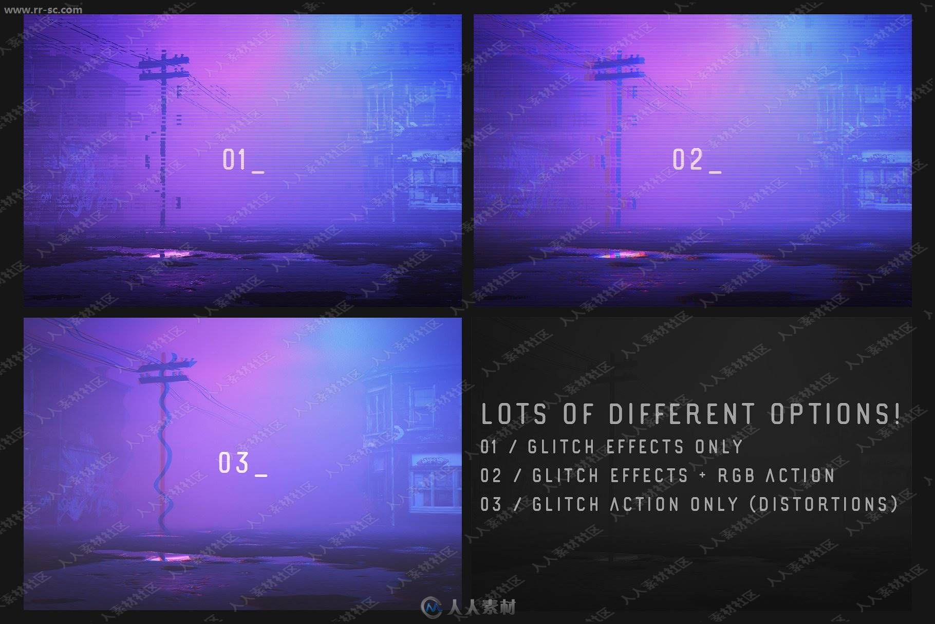 超酷夜景紫色系霓虹灯故障文字效果PSD模版