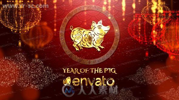 红火金猪新年金色粒子祥云灯笼节日庆典AE模版