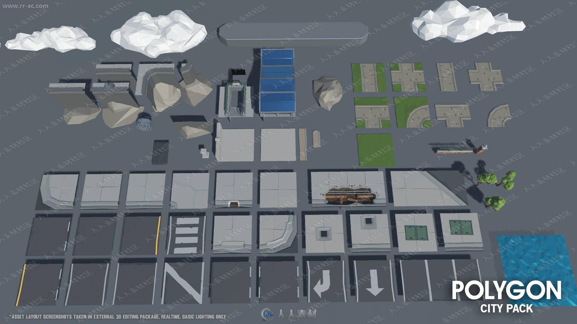 繁华城市人物角色商铺住宅环境设施3D模型UE4游戏素材资源