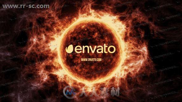 神秘太阳火焰弥漫流动logo动画演绎AE模板