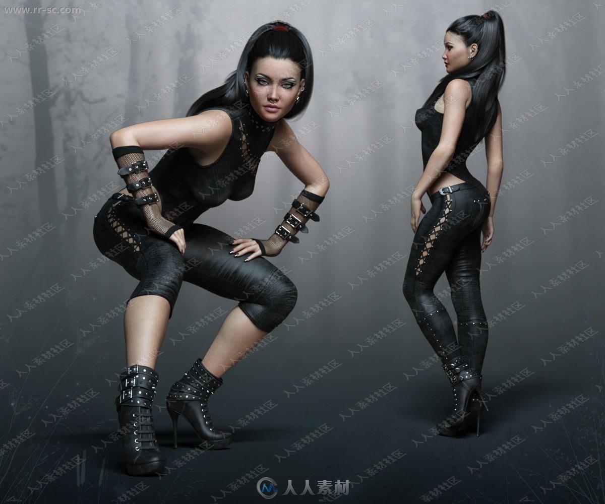 性感紧身皮衣黑网风格服装造型女孩3D模型
