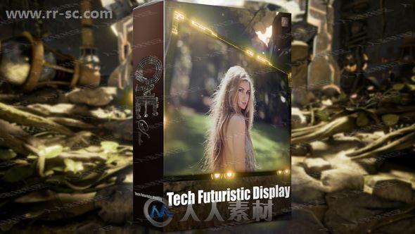 超酷未来科技感光亮显示屏粒子相册动画AE模版