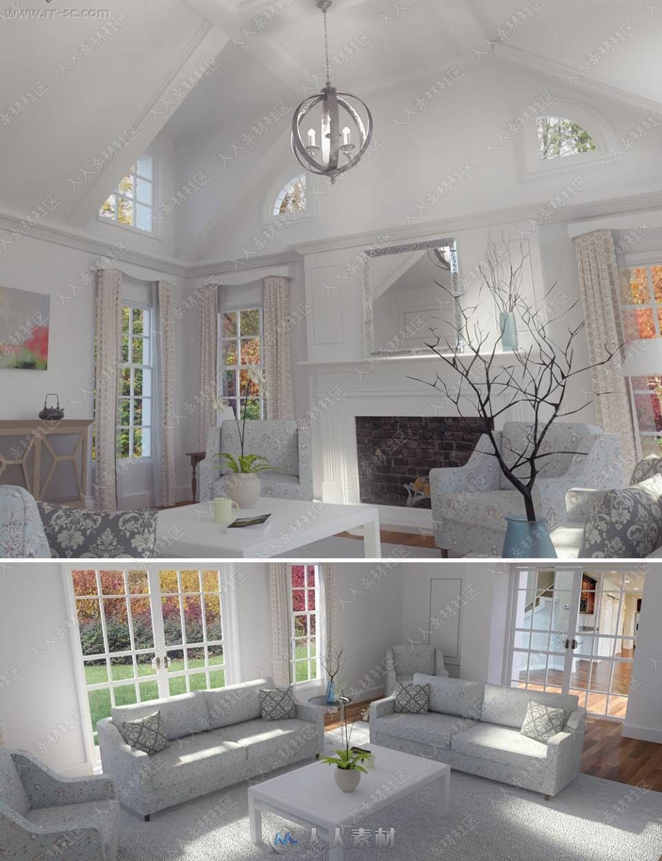 简洁舒适家居风格客厅环境布局3D模型