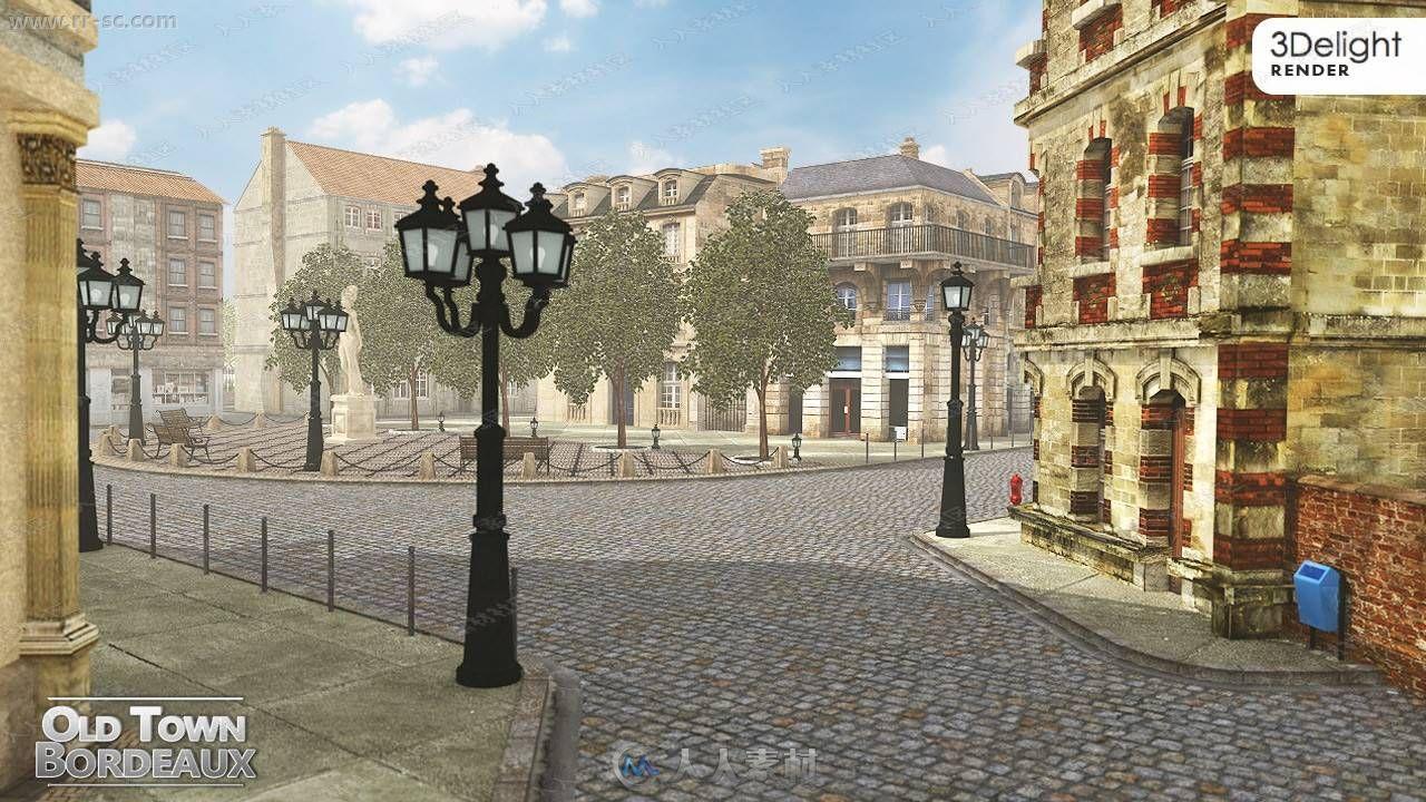 法国波尔多老城古典风格建筑设施3D模型