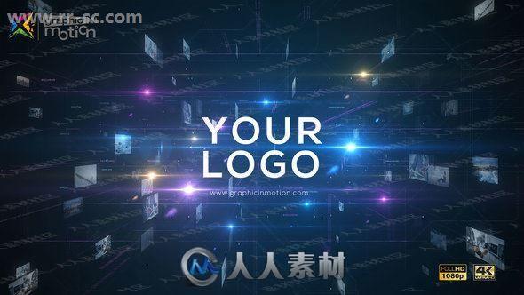 科技感数据库线码集成logo动画演绎AE模板