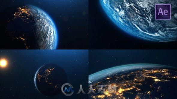 行星地球闪亮星光游走视角科幻AE模板