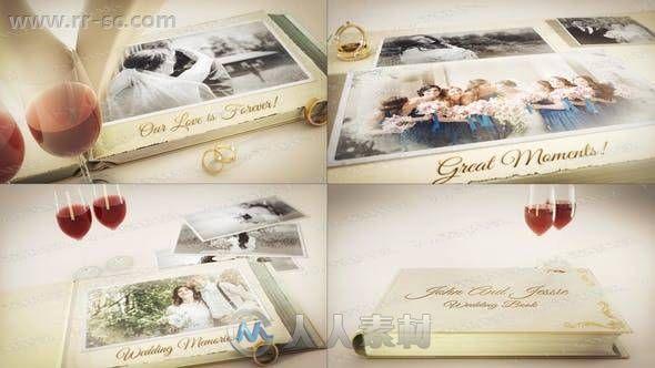温馨典雅浪漫爱情故事书本婚礼相册动画AE模板
