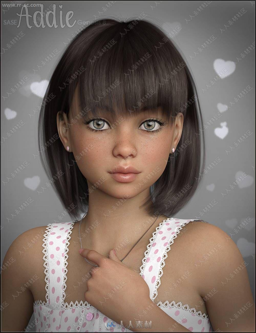 可爱圆脸小巧女孩多组妆容造型3D模型