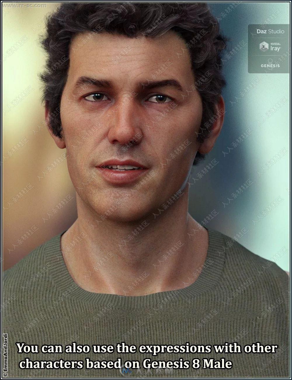 多组男性对话五官神态表情3D模型