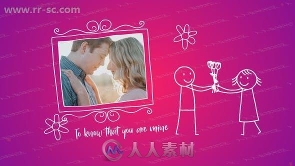 甜蜜浪漫手绘动画卡通线条相册动画AE模板