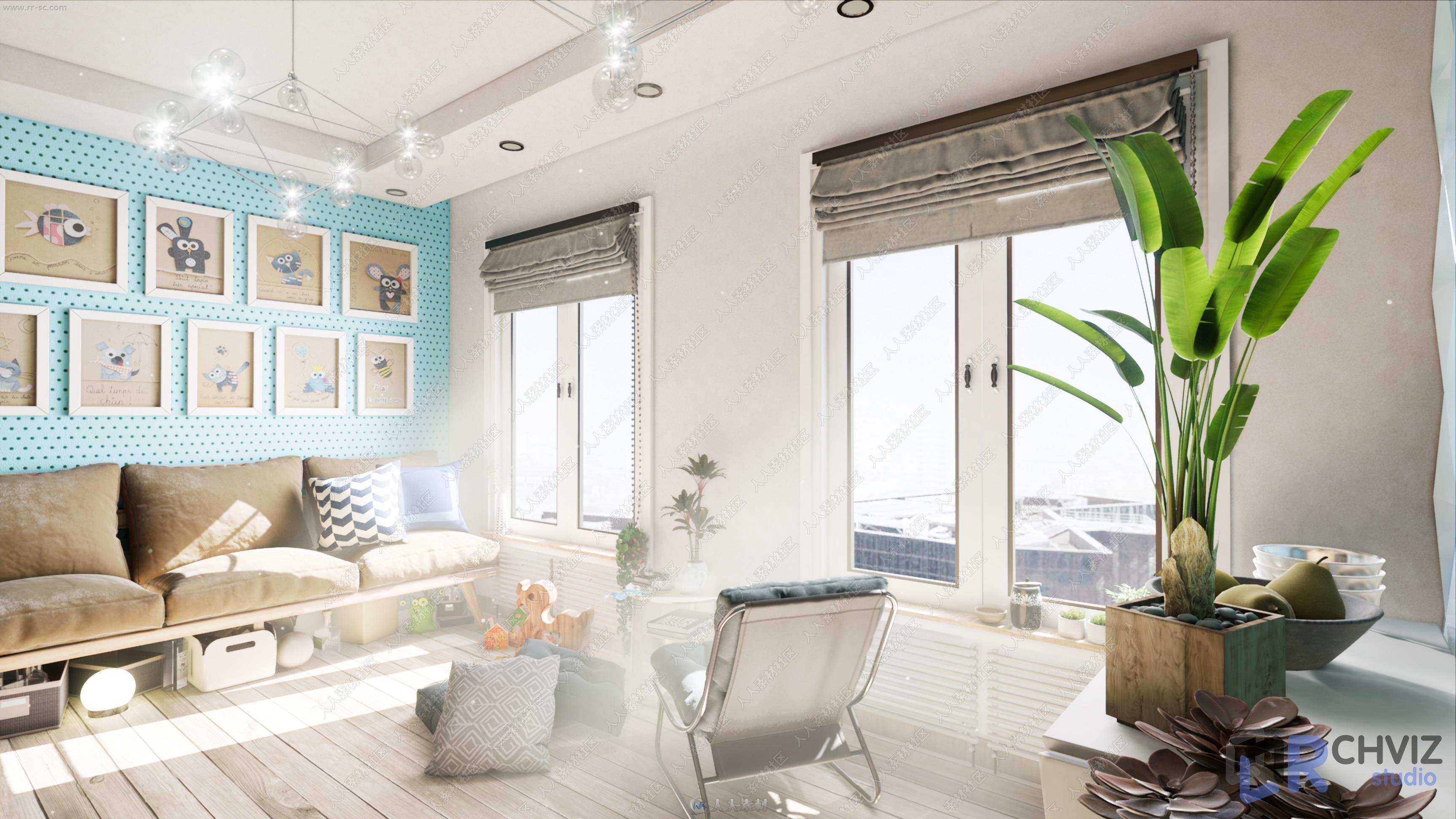 温馨家庭一居室精致装修环境UE4游戏素材资源