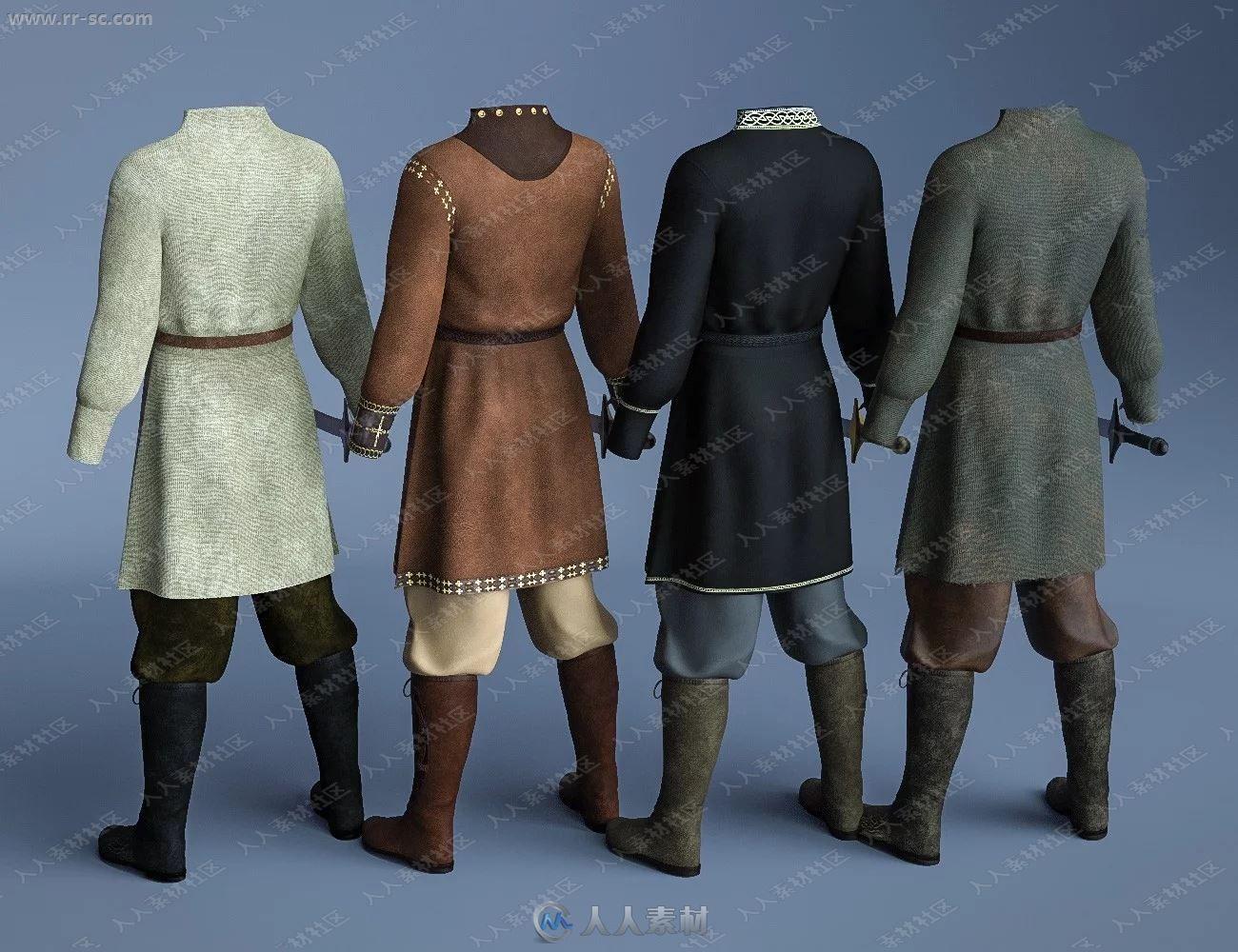 中世纪战斗男性简单布制长衣靴子3D模型