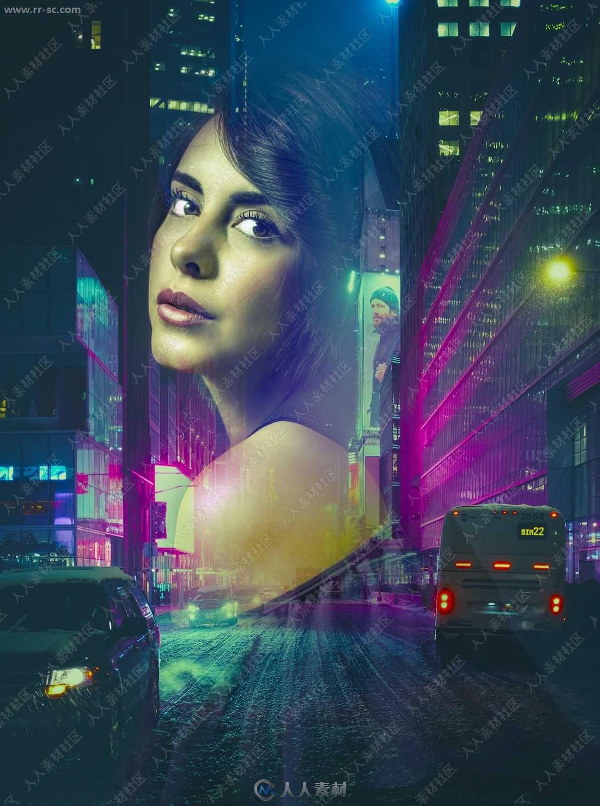 城市夜景人像双重曝光艺术特效PS动作