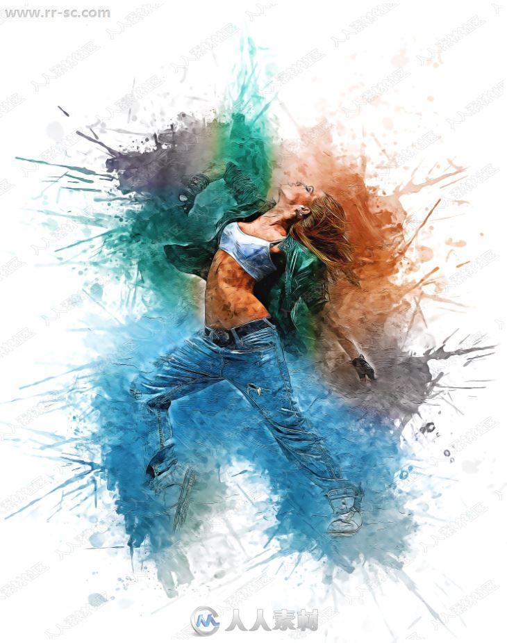 现代艺术色彩碰撞滴溅纹理特效PS动作
