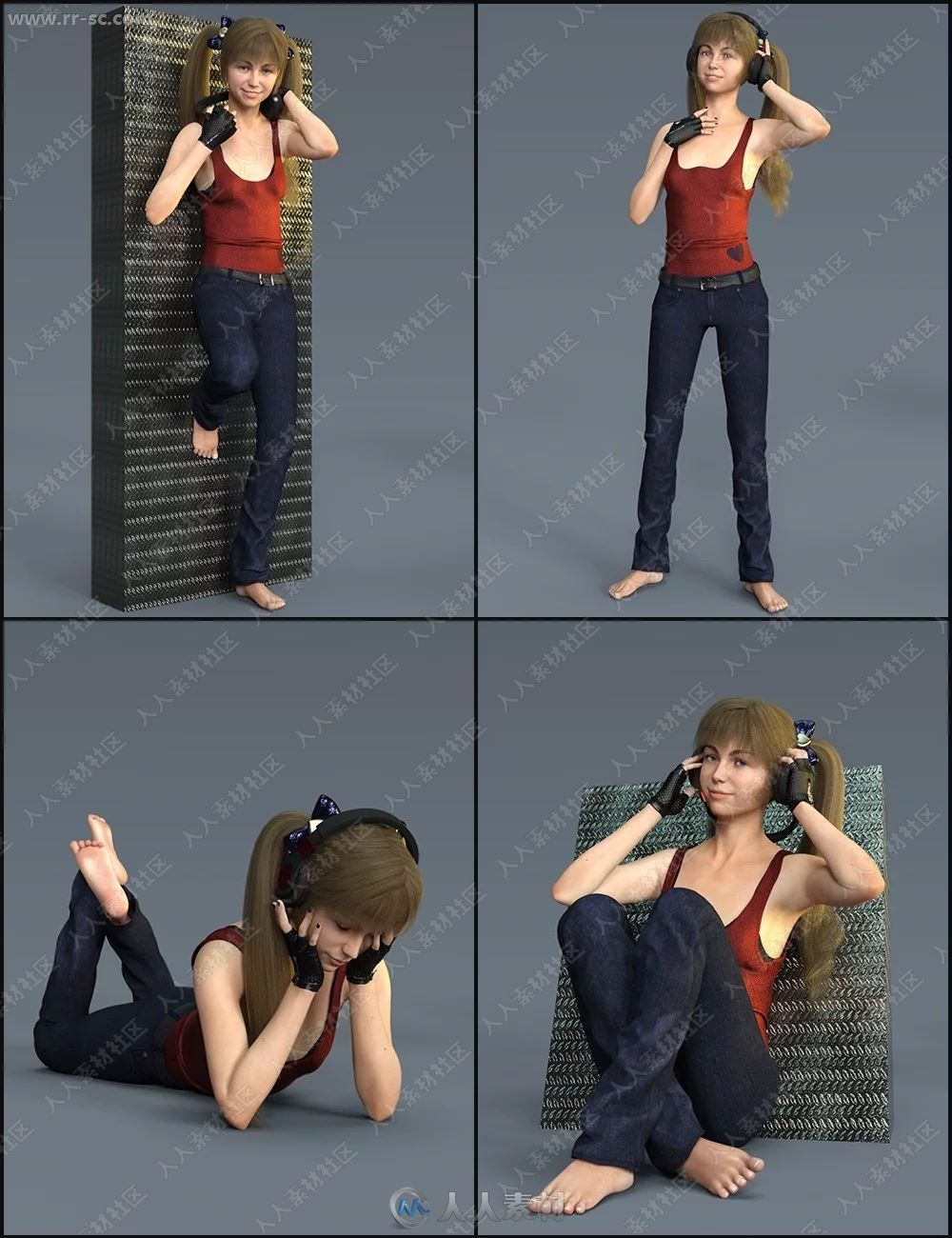 阿米娅多组妆容造型及不同款式耳机3D模型