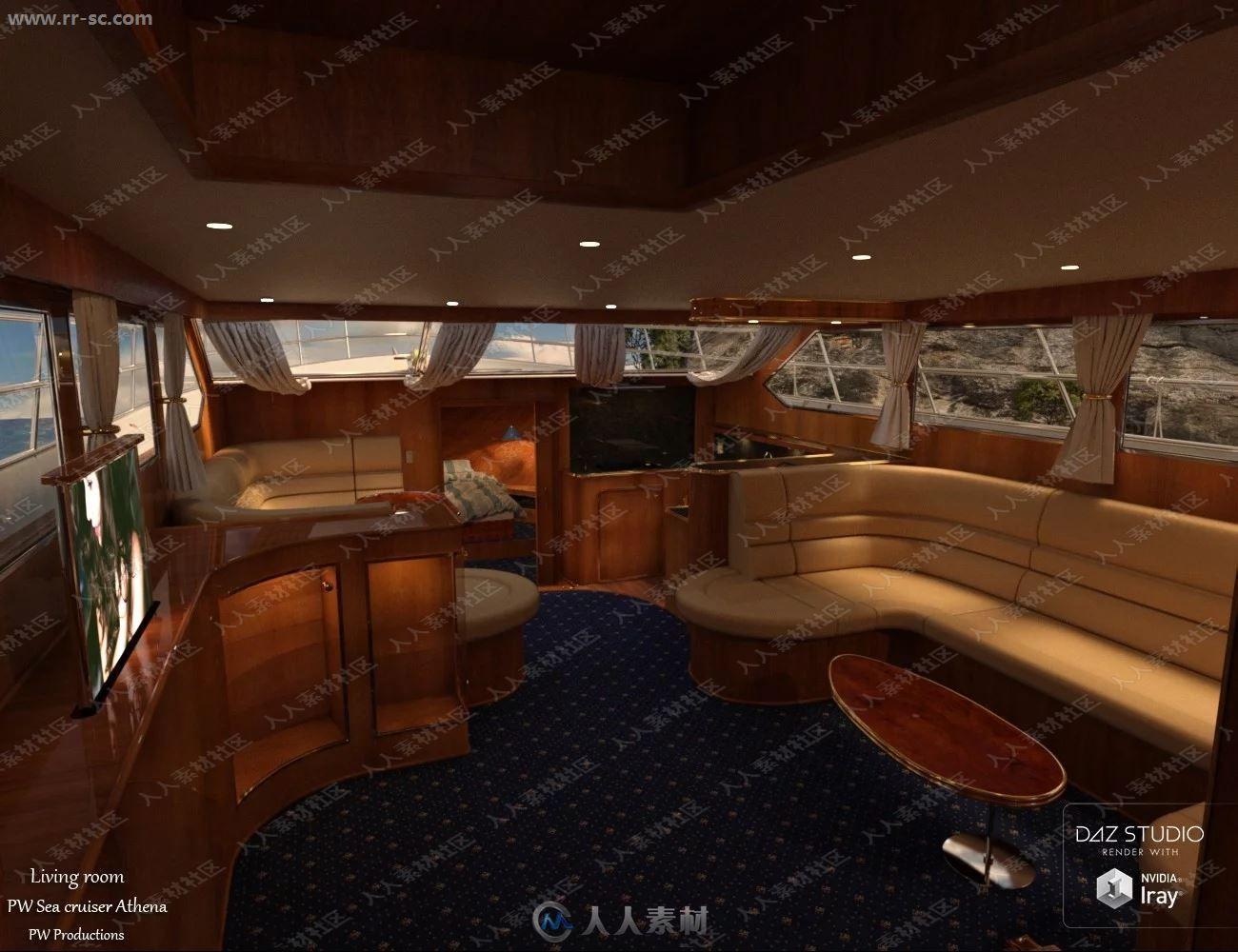 精致内饰装修快艇游轮3D模型