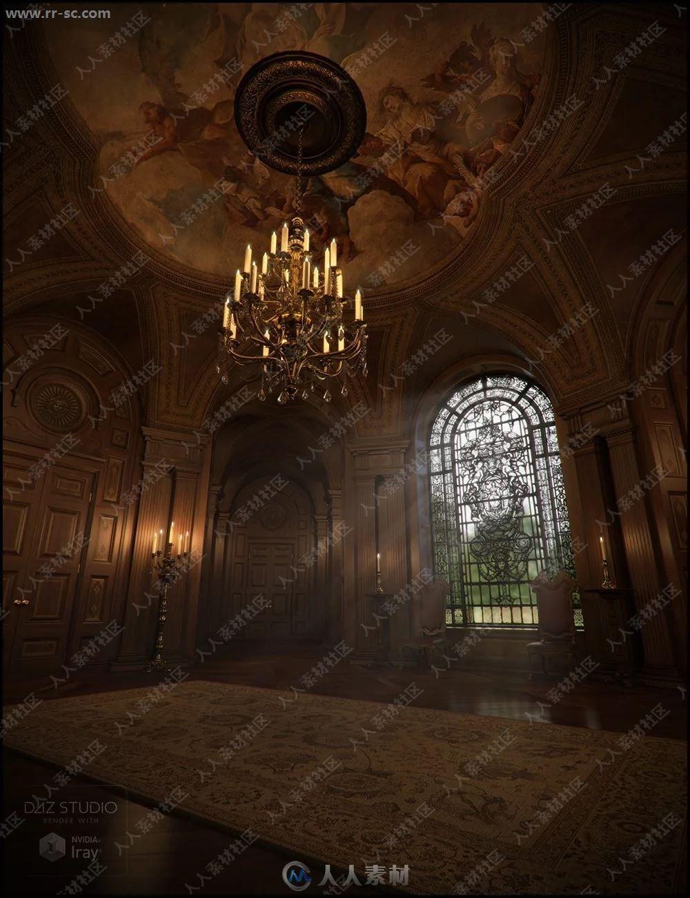 典雅大气巴洛克风格前厅长廊3D模型