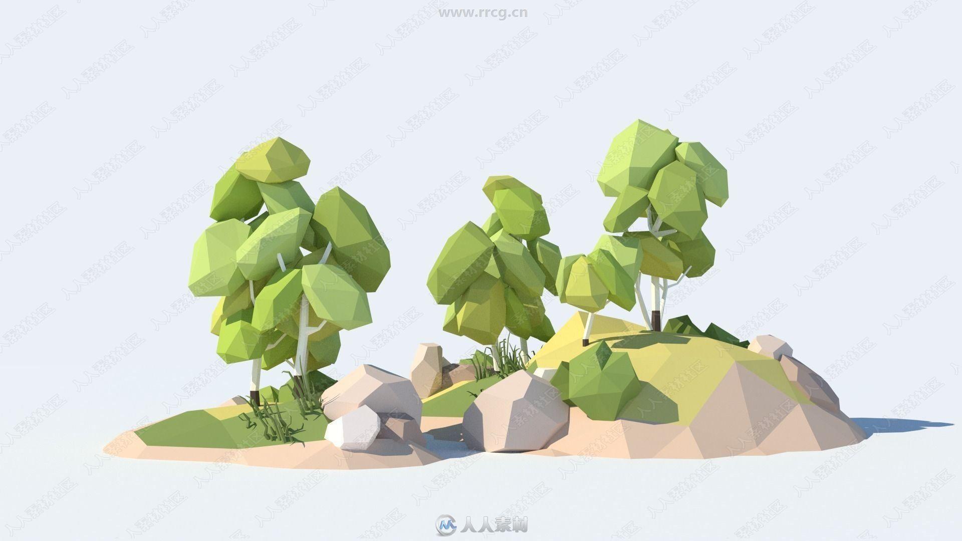岩石植被低聚3D模型合集