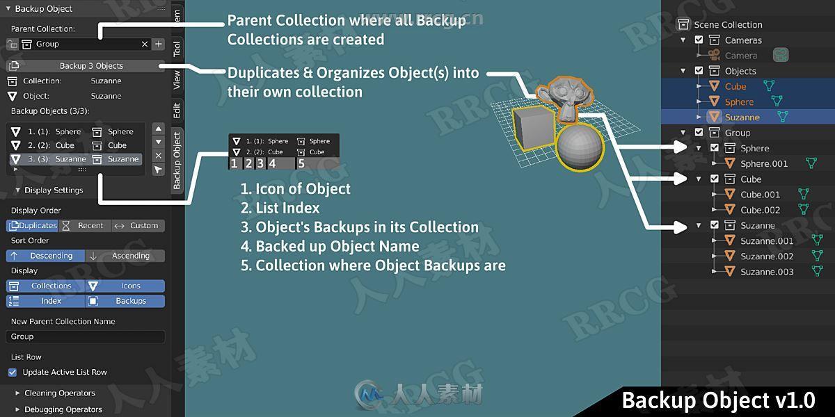 Backup Object备份对象工作流blender插件V1.0.1版