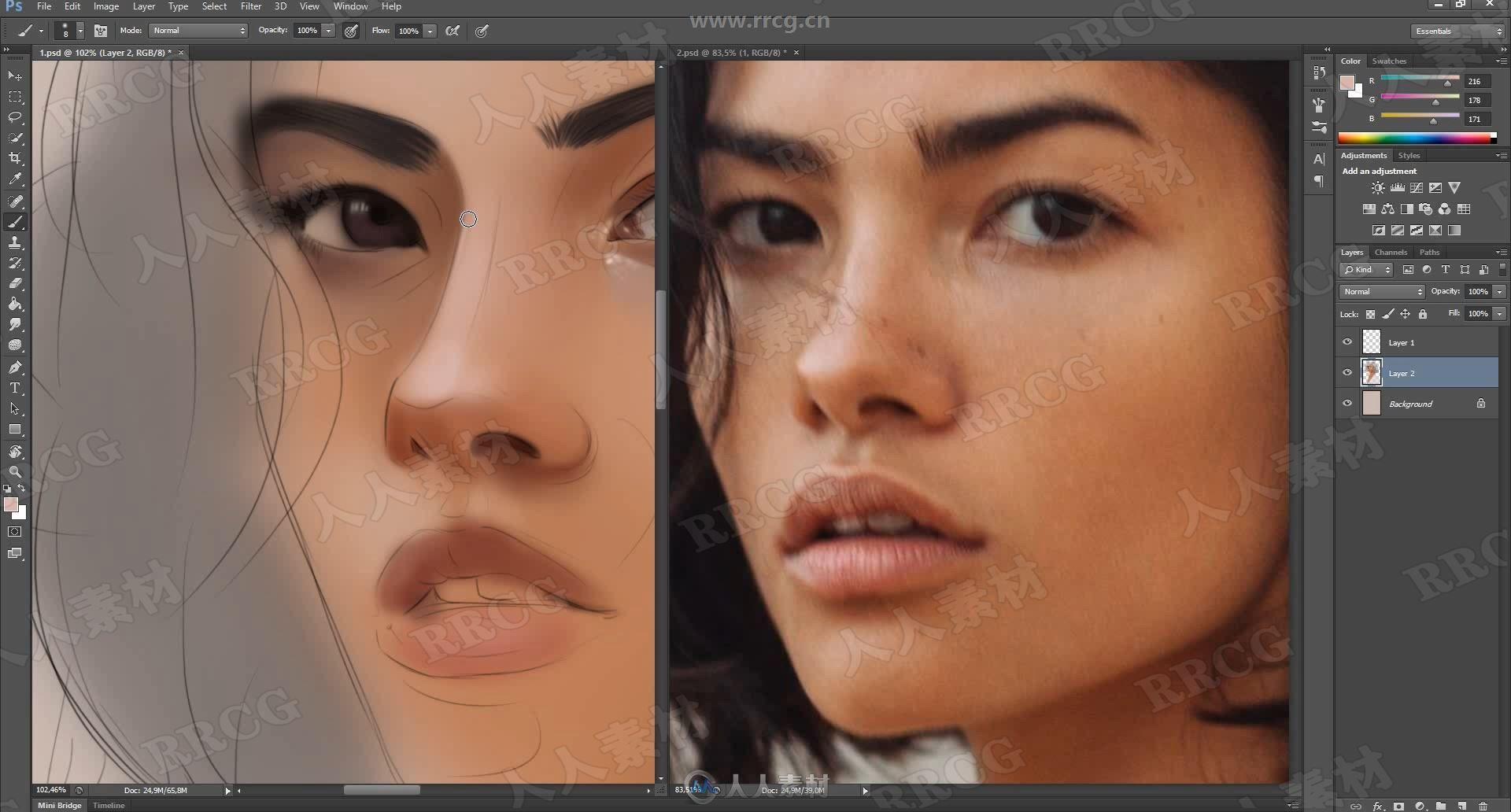 美女肖像照片逼真数字绘画实例训练视频教程