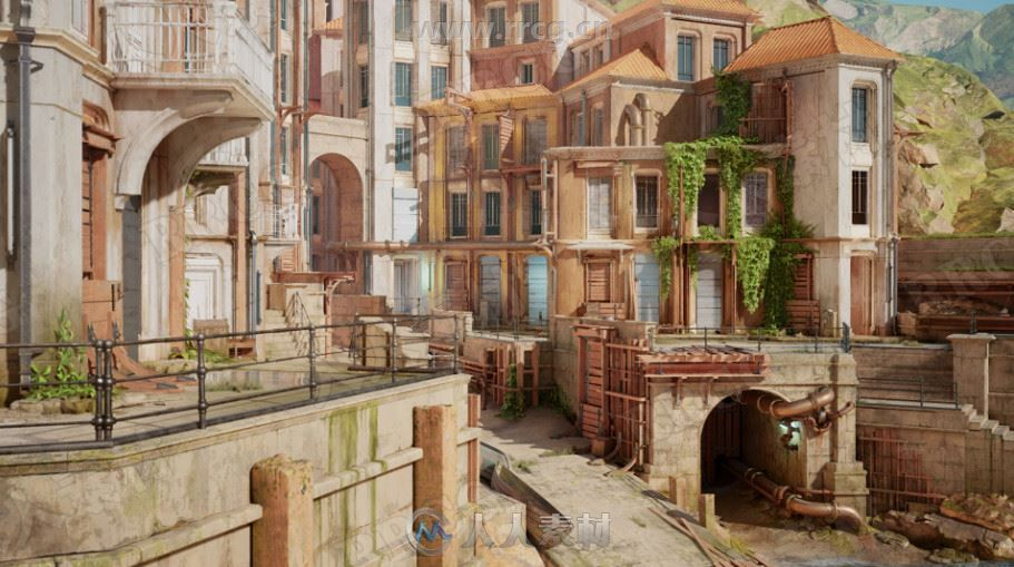 模块化海滨城市完整建筑场景UE4游戏素材资源