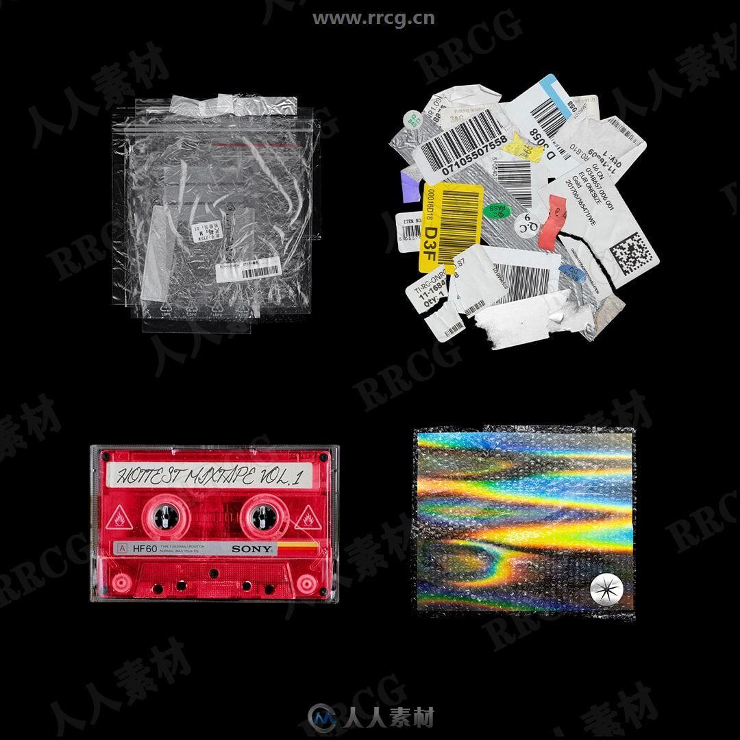 上百组塑料贴纸DVD磁带等复古包装PSD模板合集
