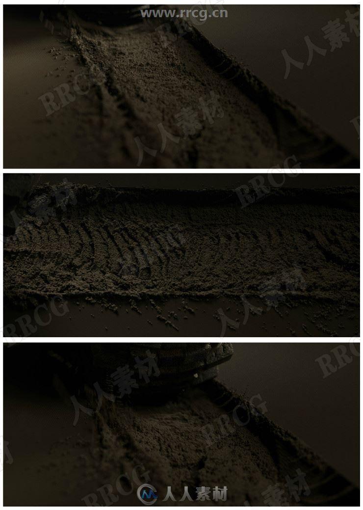 Houdini逼真沙石泥土印迹完整场景贴图与3D模型