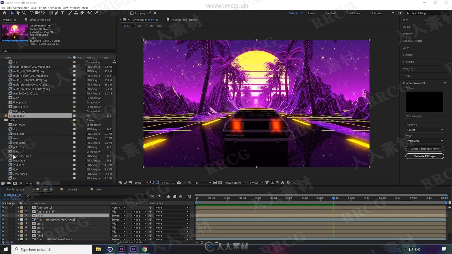 C4D与AE复古风格绚丽卡通渲染动画制作视频教程