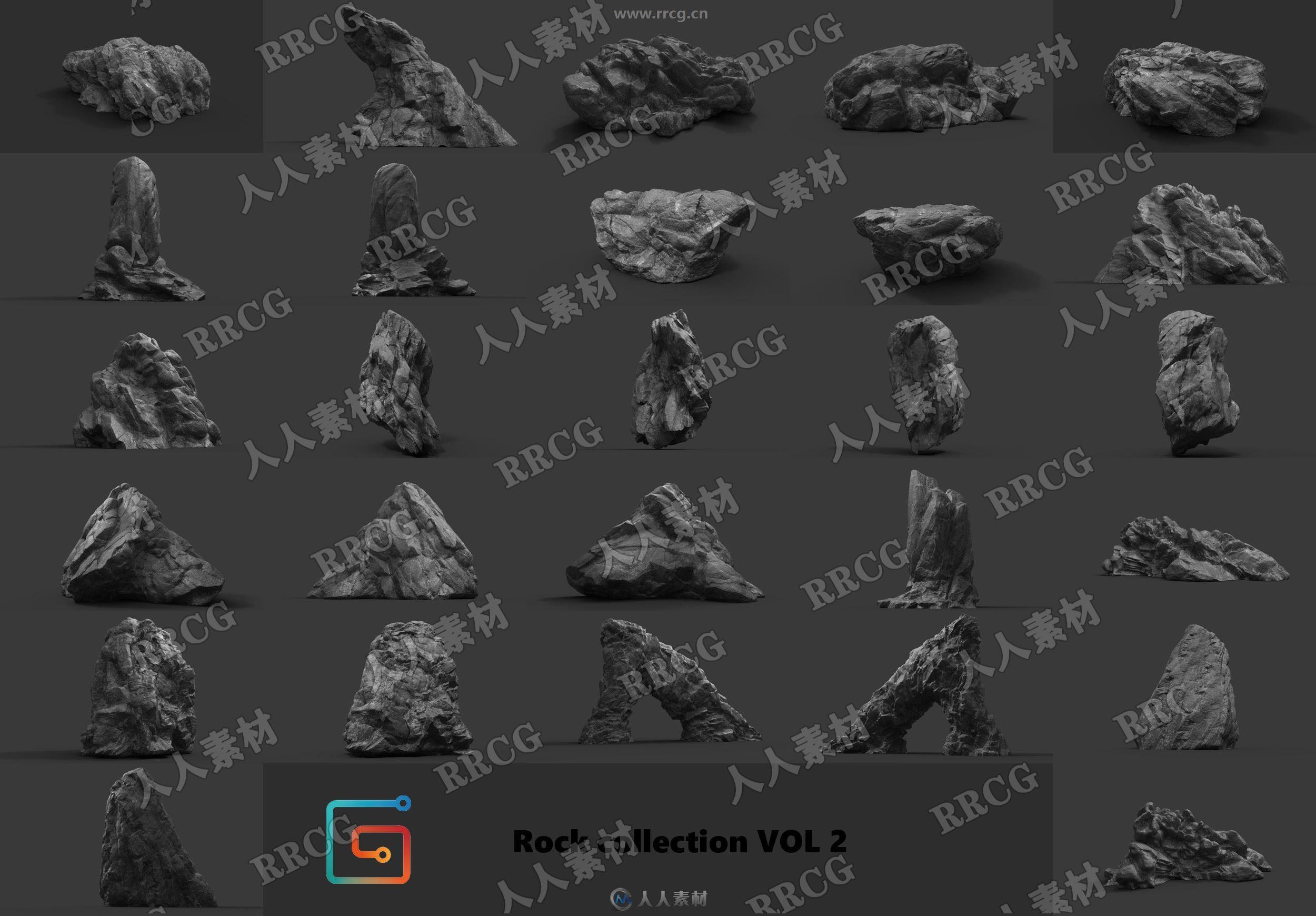 14组高精度岩石3D模型与PBR贴图合集