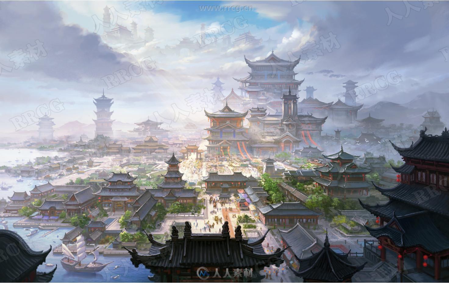 古风传统建筑山水风景游戏场景原画集