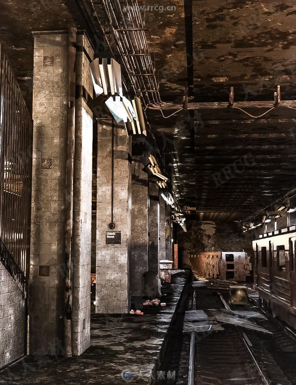 城市地下废弃地铁站建筑3D模型合集
