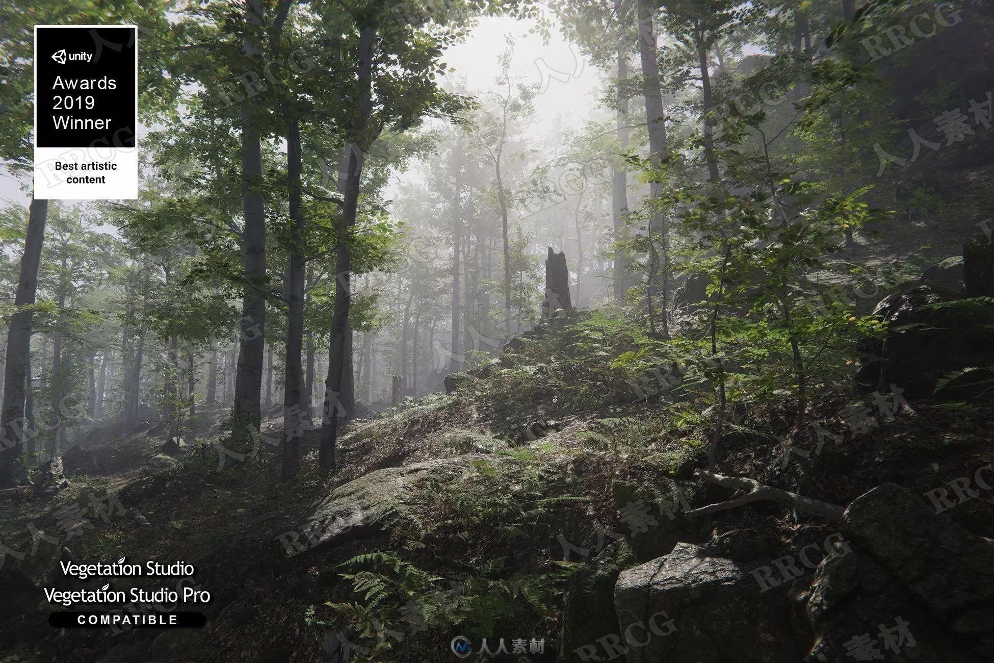 逼真自然动态森林植被环境Unity游戏素材资源
