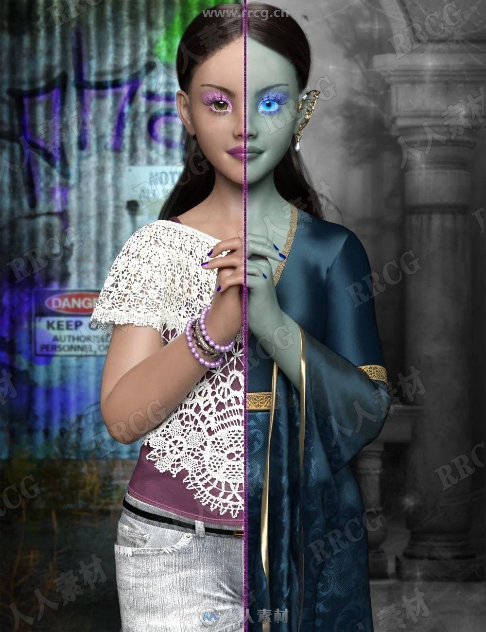 一人双面可爱年轻精灵女孩3D模型合集