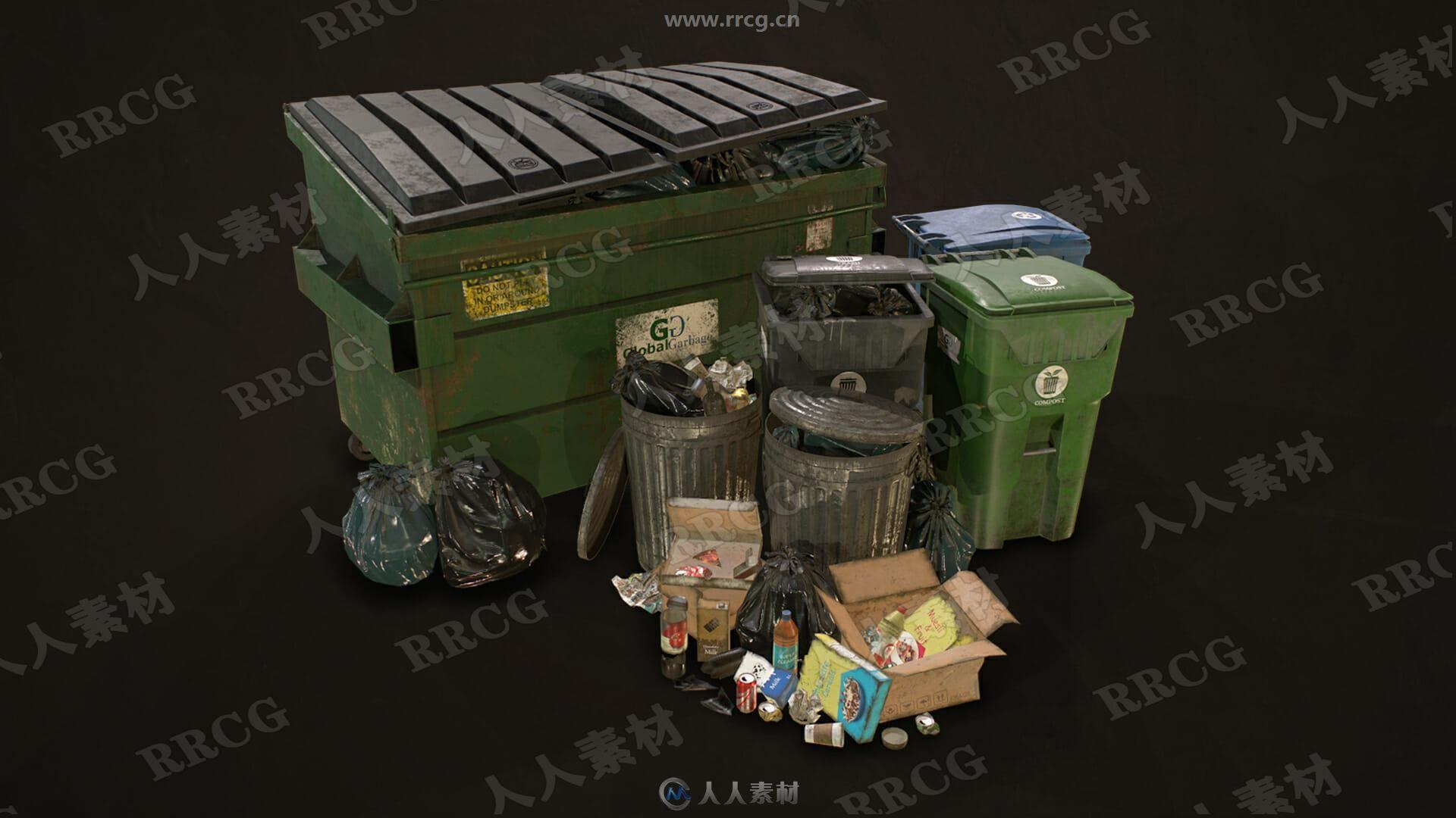 城市垃圾桶垃圾箱垃圾袋3D模型与PBR纹理