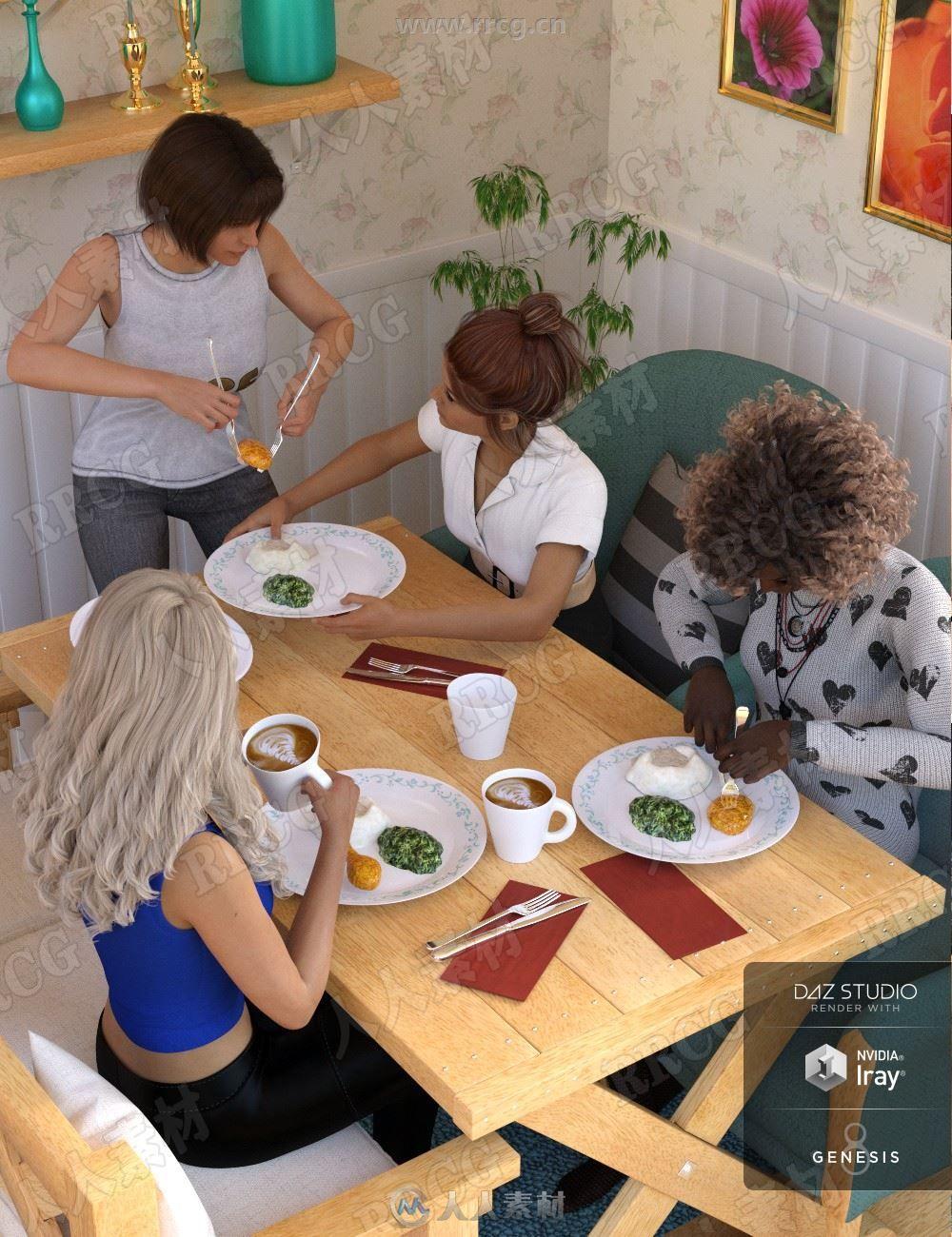 女性用餐饮水状态多种姿势3D模型合集