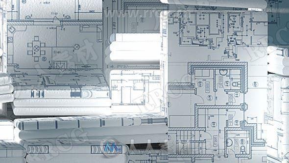 电气图纸样式立体建筑LOGO动画演绎AE模板