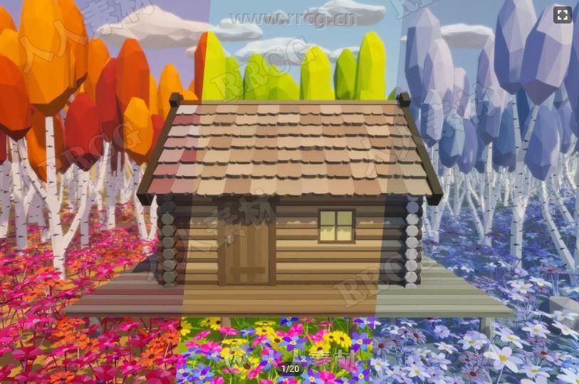 多边形模型配色纹理关卡益智游戏Unity游戏素材资源