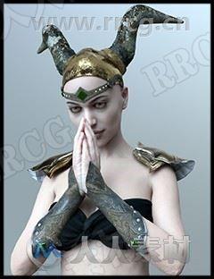 科幻女战士钢铁装甲角盔武器装备3D模型合集