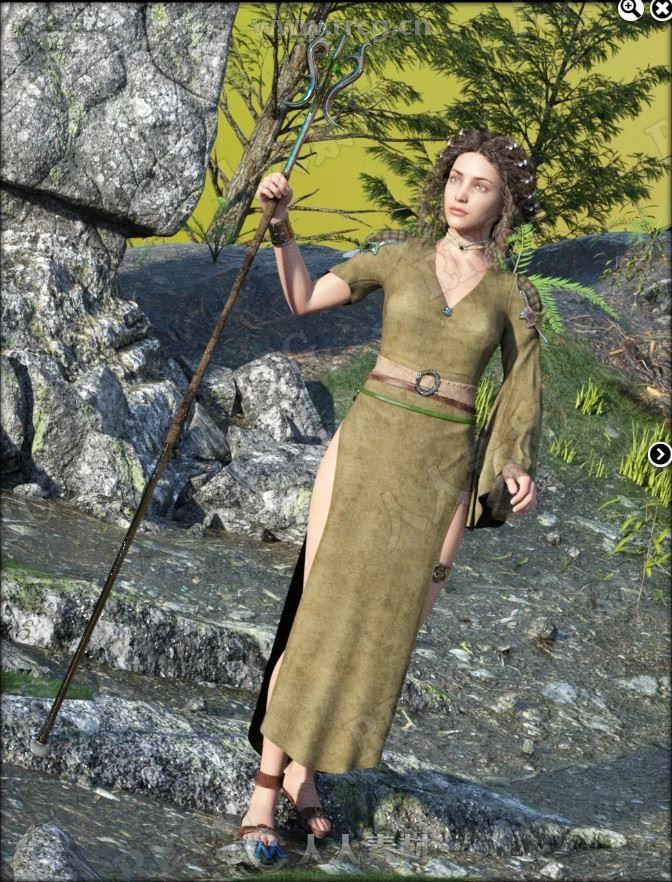 幻想高开叉旗袍样式连衣裙和魔杖3D模型合集