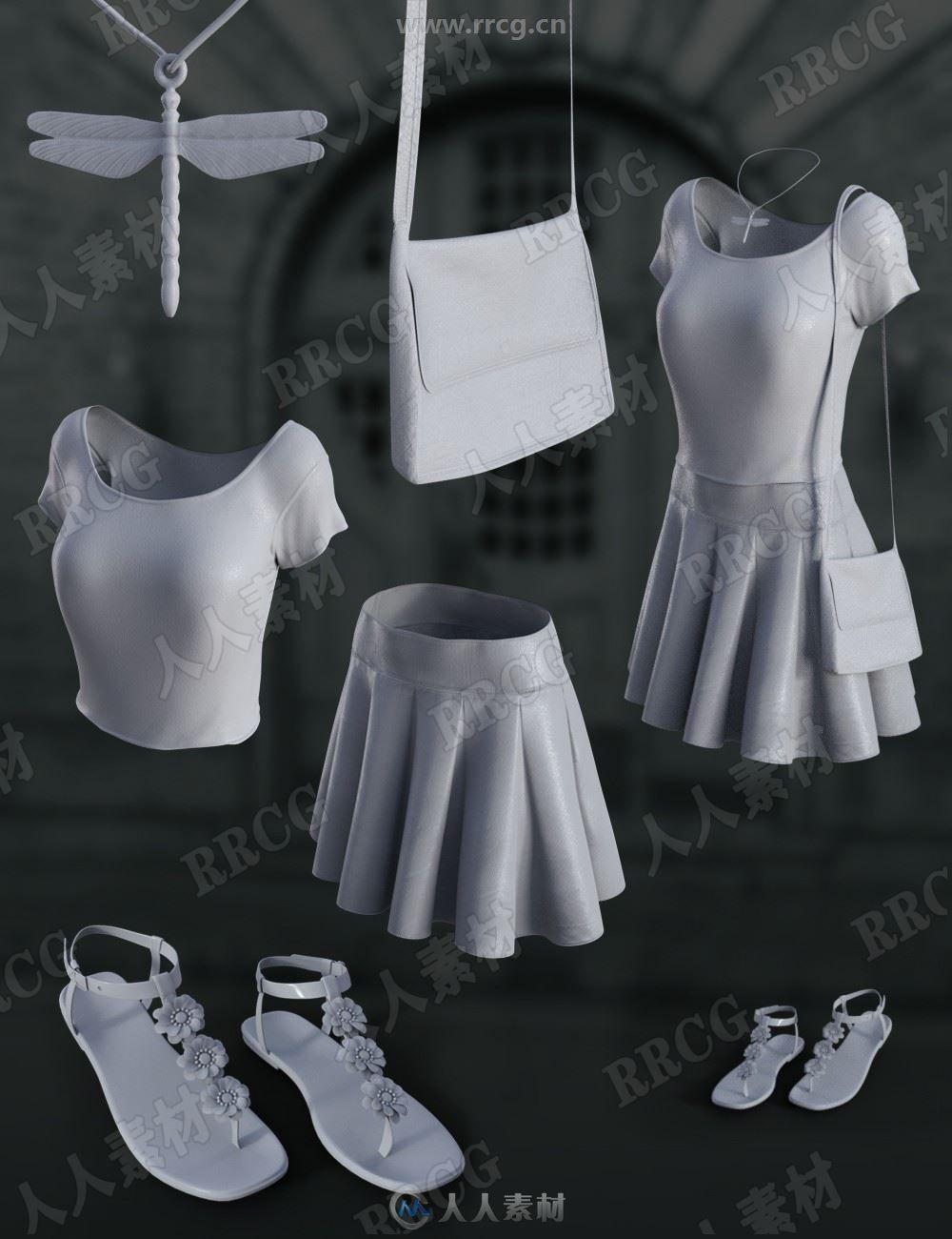 简单时尚小清新夏季清凉女性分体套装3D模型合集