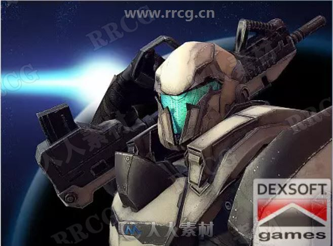 3D拿枪未来钢铁机器人士兵游戏战斗角色nity游戏素材资源