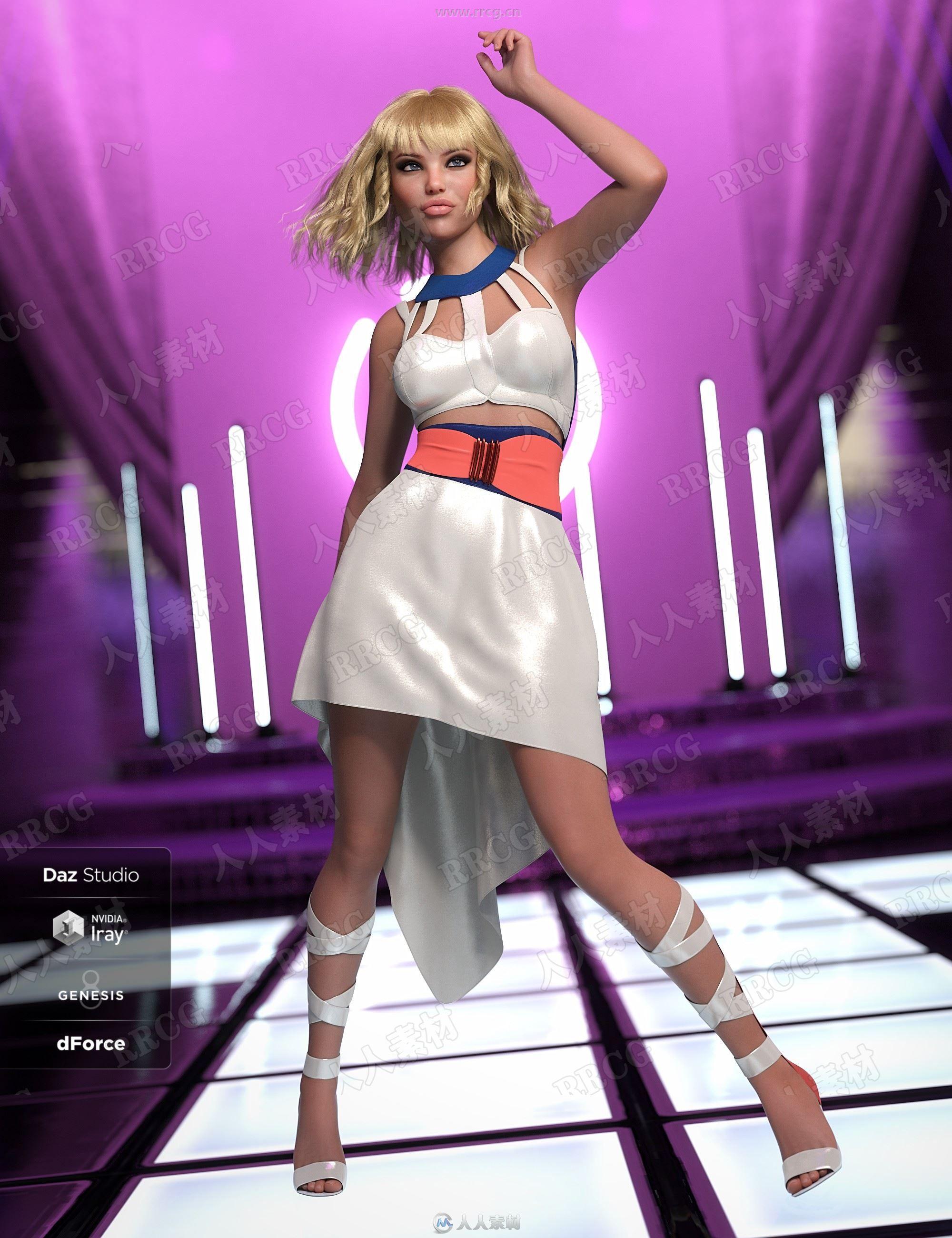 闪闪发光前短后长舞女连衣裙3D模型合集