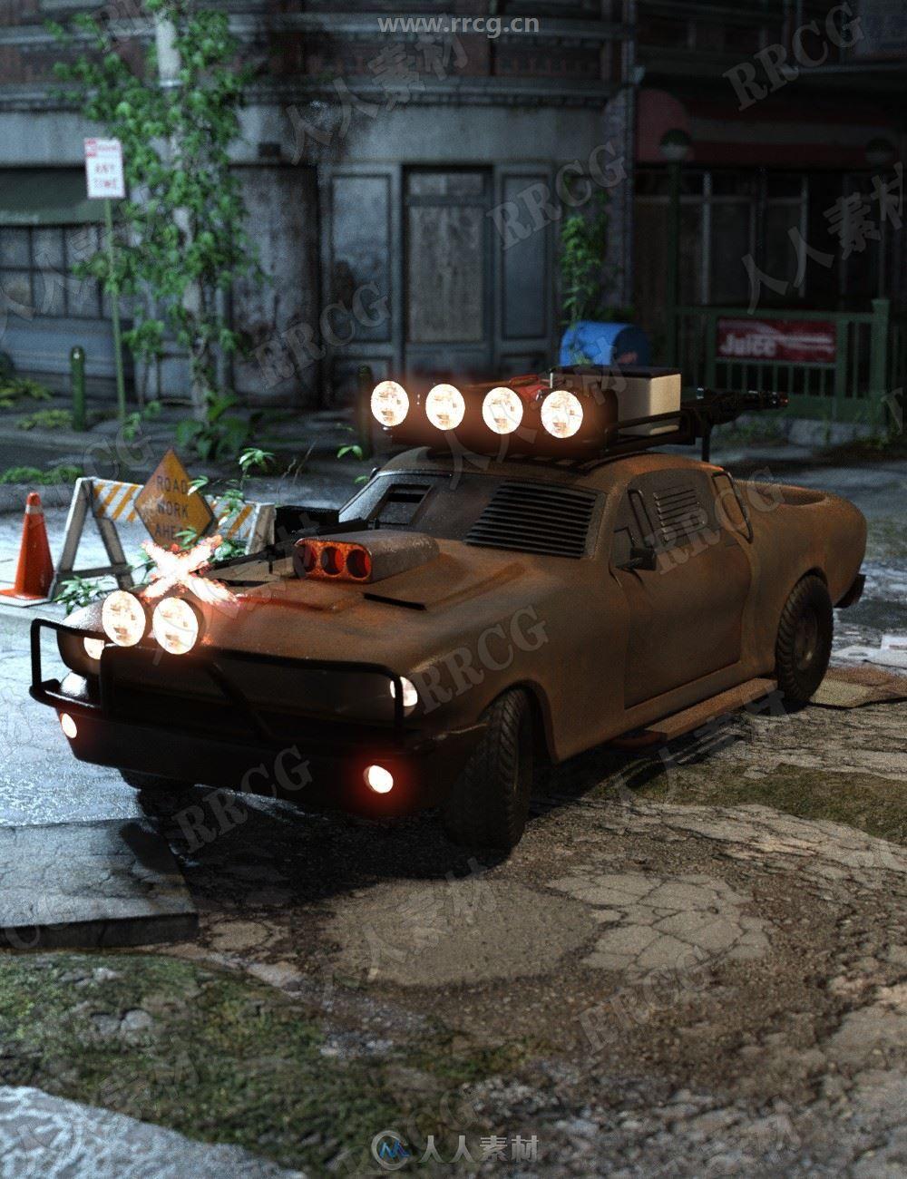 世界末日生锈枪械四轮轿车3D模型合集