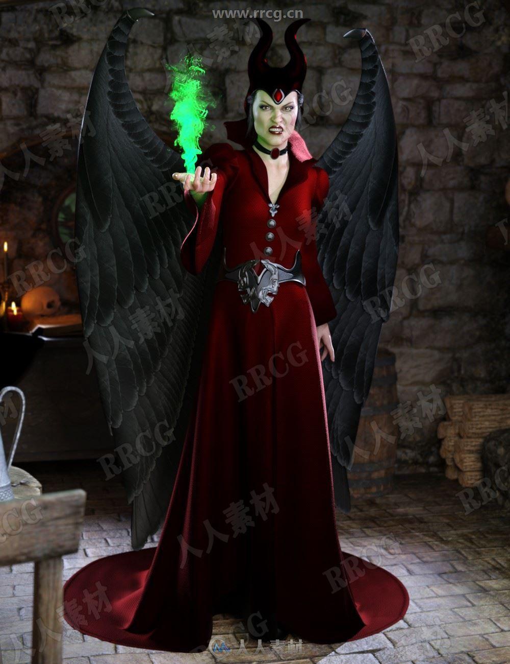 女版仙女传说蝙蝠女巫造型服饰3D模型合集