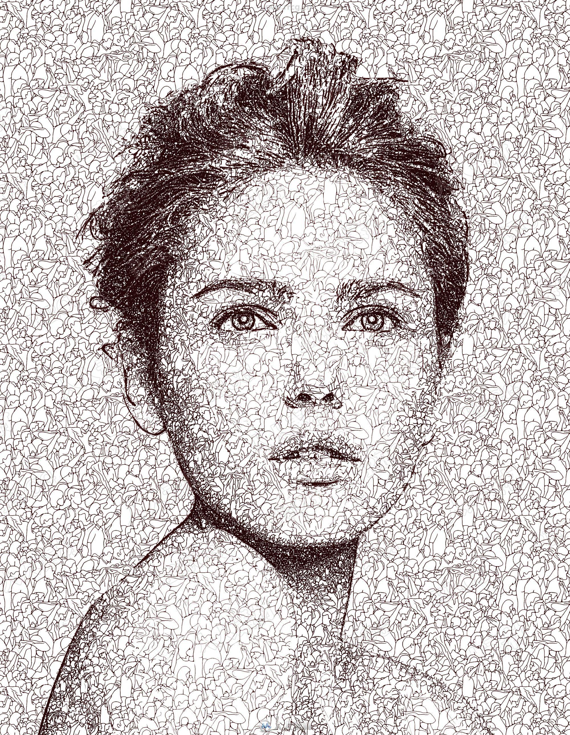 无数个人物框架组合涂鸦绘图艺术图像处理特效PS动作