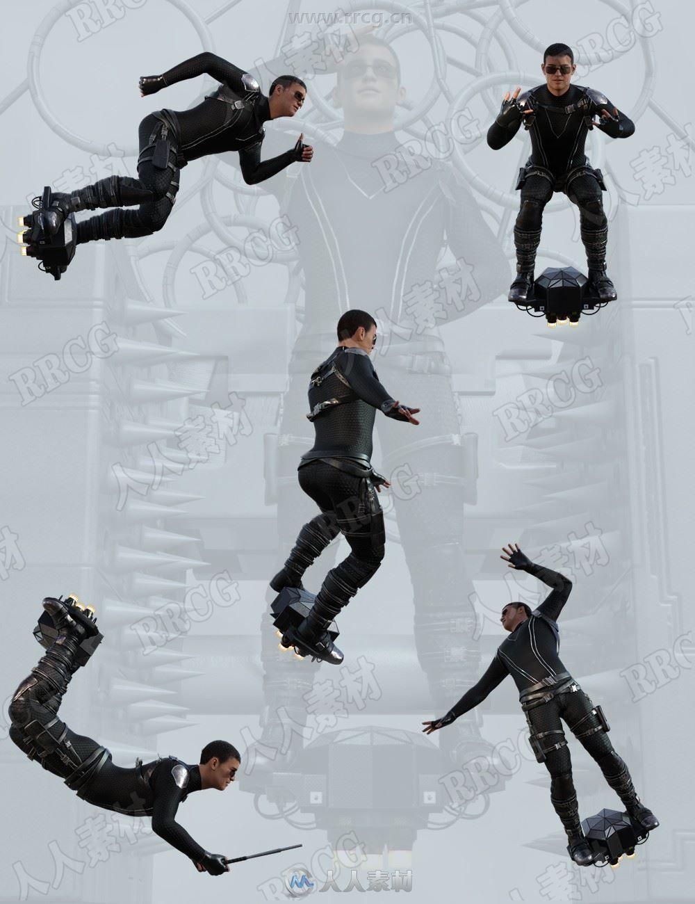 飞檐走壁男性角色动作姿势3D模型合集