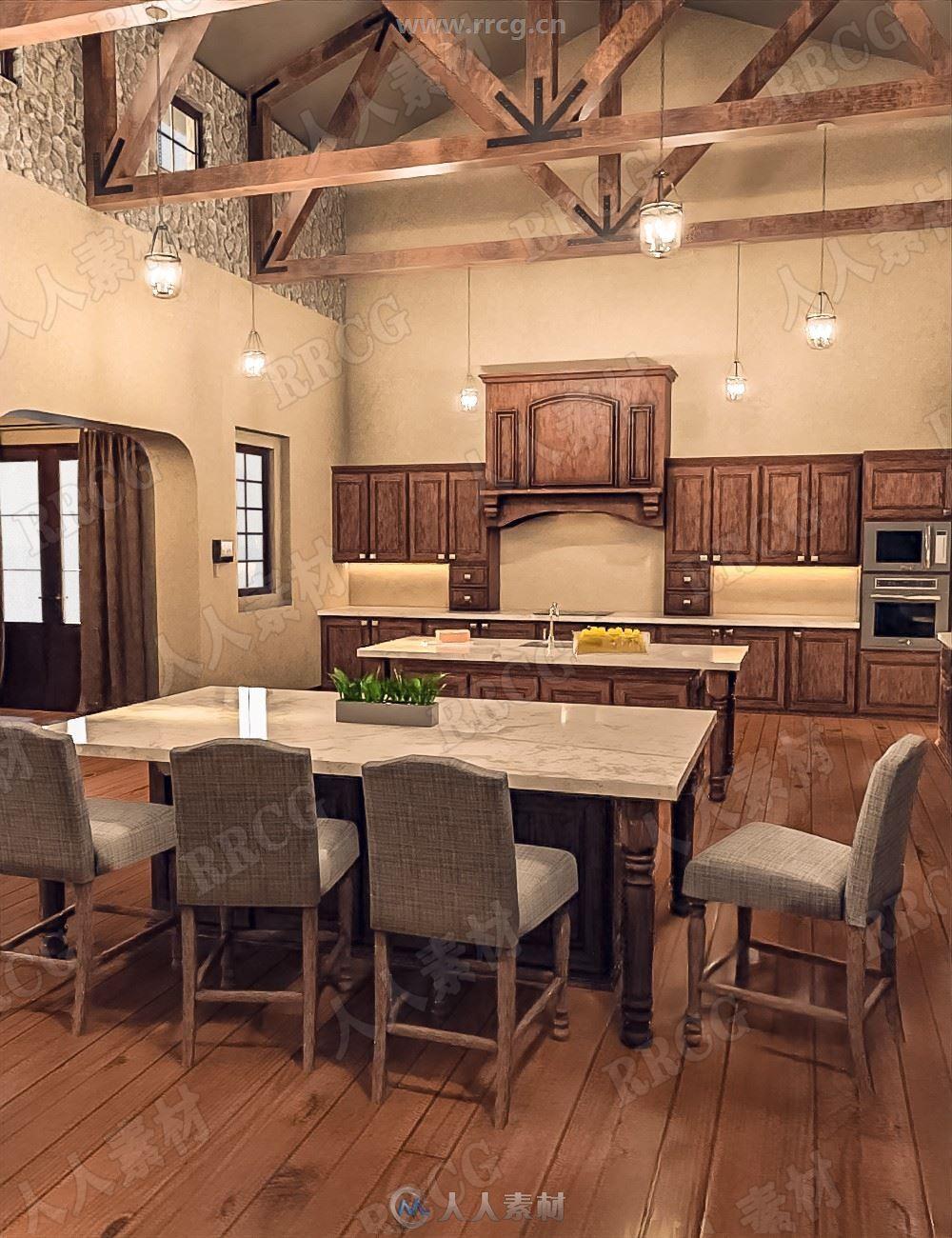 奢华开放式美食厨房餐厅3D模型合集